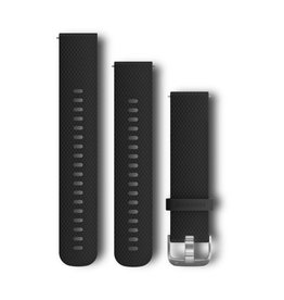 Garmin Quick Release Bands 20 mm Black with Silver Hardware