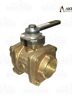 "Akron Brass 2"" Female NPT x 2"" Grooved Ball Valve with Straight Lever"