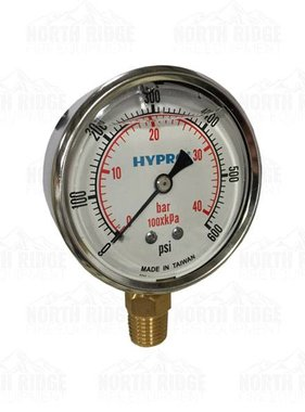 "PENTAIR Hypro 2.5"" Liquid Filled 0-600 PSI Bottom Mount Pressure Gauge #2640-0008"