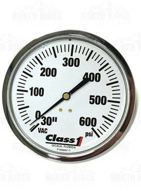 "Hale Products Class1 4.5"" Liquid Filled 30-600 PSI Pressure Gauge 91583953"