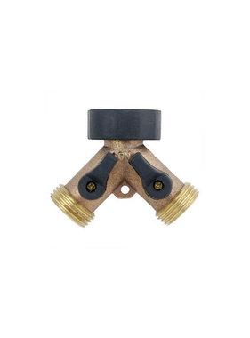 """Brass 3/4"""" Garden Hose 2-Way Y-Connector"""