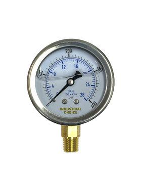 A-1 Industrial 0-400 PSI Liquid Filled Bottom Mount Pressure Gauge