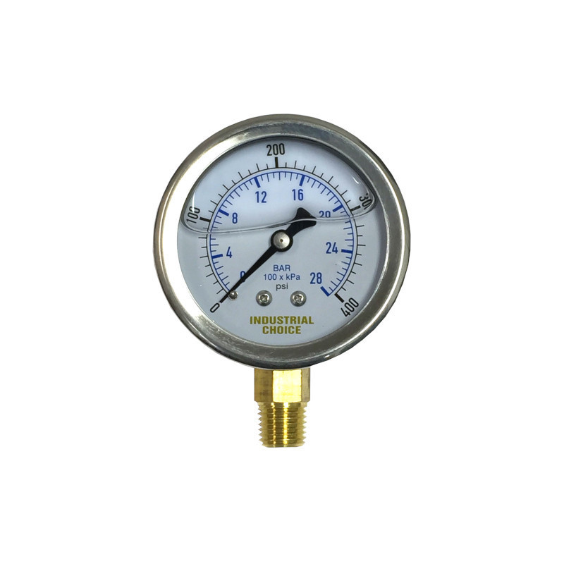 A-1 Industrial 0-400 PSI Liquid Filled Bottom Mount Pressure Gauge