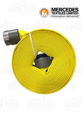 "Mercedes Textiles 3"" (Coupled 2.5"" NH) x 50ft Fire Hose MD-800, Yellow, Color-Treated"