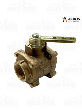 "Akron Brass 8820 Brass Valve 2"" NPT Double Female w/R-1 Handle"