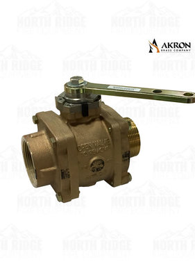 "Akron Brass 8825 Brass Valve 2.5"" NPT Male x 2.5"" NPT Female with R-1 Handle"