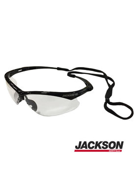 SG Safety Glasses w/Black Frame, Clear Anti Fog Lens