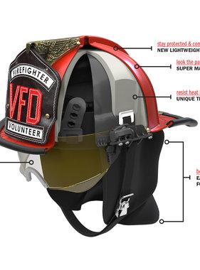 "Bullard Bullard ULW6350 Black Light Weight Traditional Fiberglass Structure Helmet W/6"" Brass Eagle"