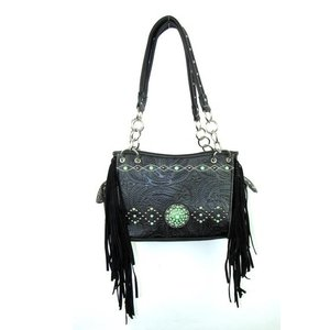 Handbag w/ Jade Stones and Fringe