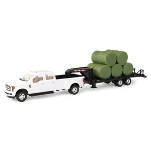 Ford Pickup w/ Gooseneck trailer and Bales