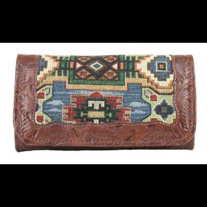 American West Bella Beau leather tri-fold wallet
