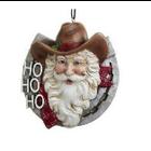 Western Santa in Horseshoe Ornament