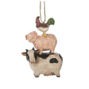 Rooster, Pig, and Cow Ornament