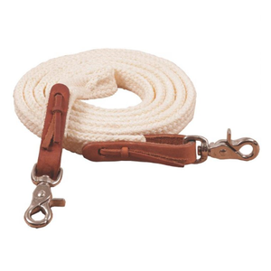 Braided Roping Rein- White