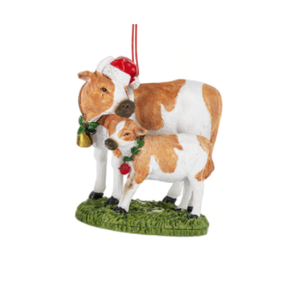 Holiday Cow & Calf Ornament