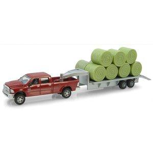 Ram Pickup W/ Gooseneck Flat Bed & Bales