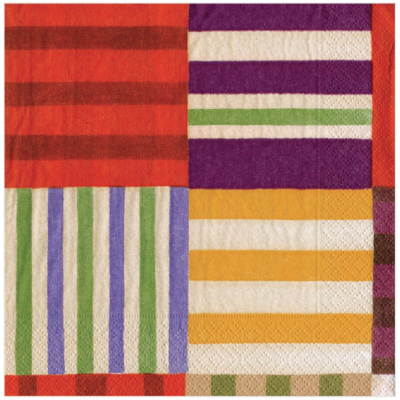 Caspari Luncheon Napkin - Striped Patchwork Purple