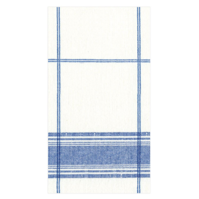 Caspari Guest Towel - Belgian Linen Blue