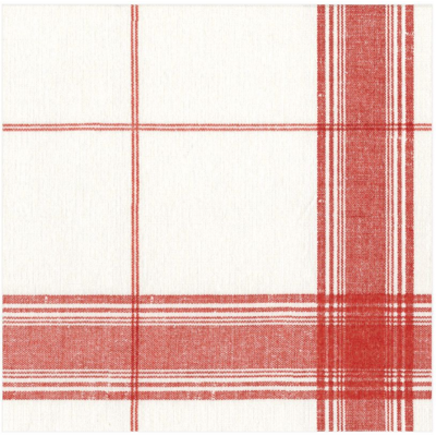 Caspari Cocktail Napkin - Belgian Linen Red