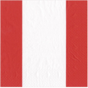 Caspari Luncheon Napkin - Bandol Stripe Red