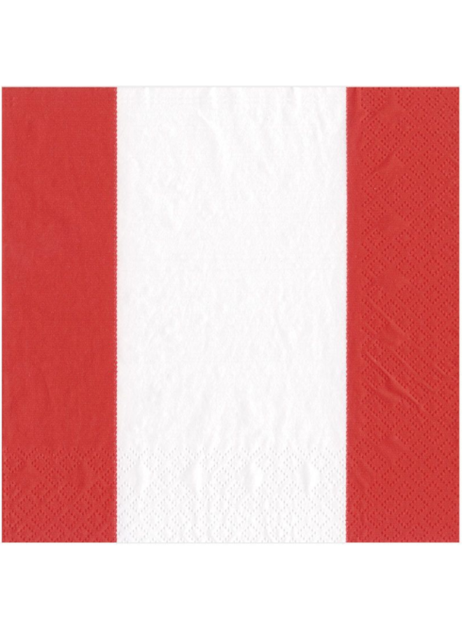 Luncheon Napkin - Bandol Stripe Red