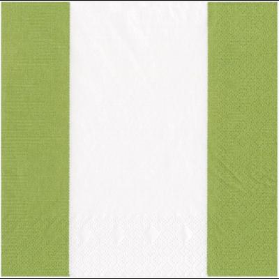 Caspari Luncheon Napkin - Bandol Stripe Moss Green