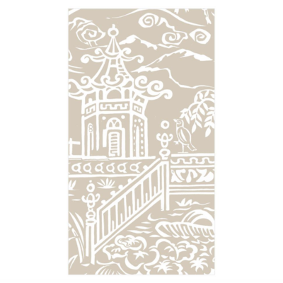 Caspari Guest Towel - Pagoda Toile Natural