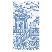 Caspari Guest Towel - Pagoda Toile Blue