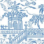Caspari Cocktail Napkin - Pagoda Toile Blue