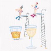 Caspari Cocktail Napkin - Dive In