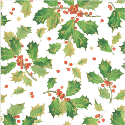 Caspari Wrapping paper - Gilded Holly