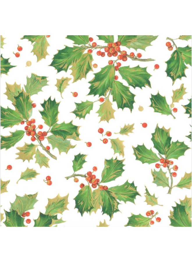 Wrapping Paper Gilded Holly White