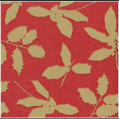 Caspari Luncheon napkin - Holly silhouette red
