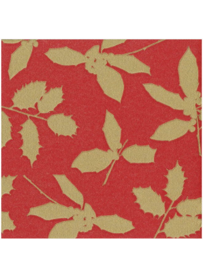 Luncheon napkin - Holly silhouette red