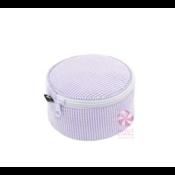 Mint Seersucker Button Bag
