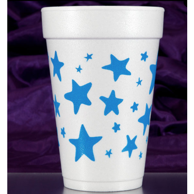 Print Appeal Foam Cups - Blue Stars