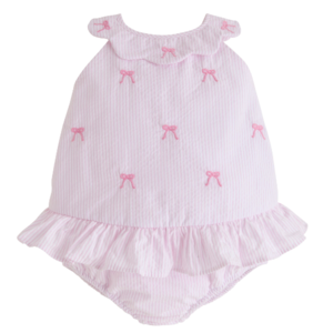 Little English Bow Scallop Swimsuit