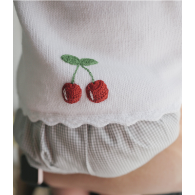 Little English Sweater white with cherries
