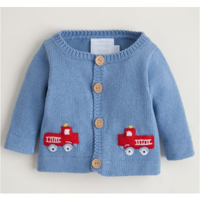 Little English Sweater blue with fire truck
