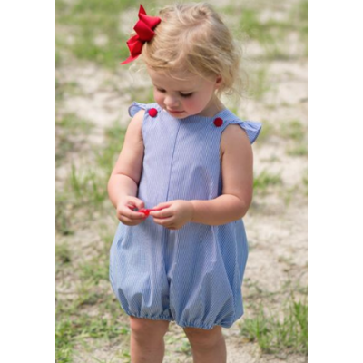Lullaby Set Blue/White Striped/Red Buttons Bubble