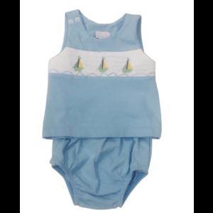 Lullaby Set Knit Smocked Sailboat Diaper Set