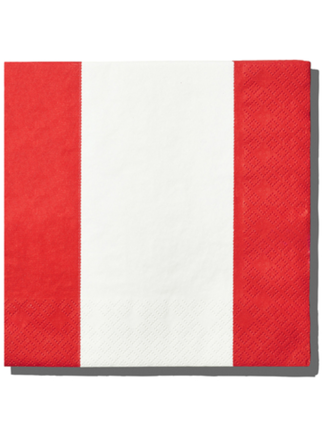 Luncheon Napkin - Top Stripes Red
