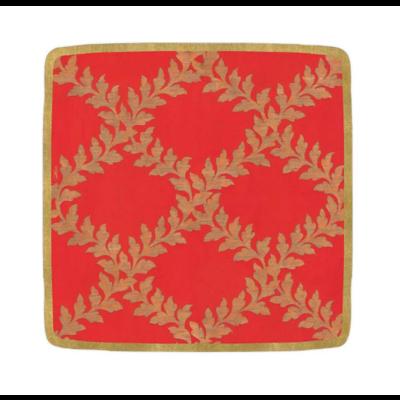 Caspari Salad Plate - Acanthus Trellis Red