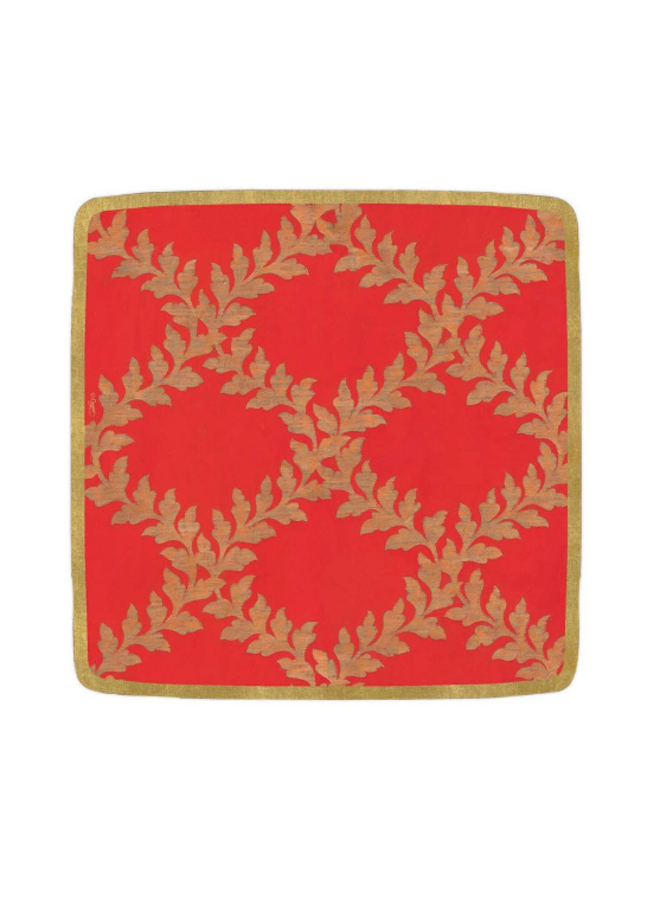 Salad Plate - Acanthus Trellis Red