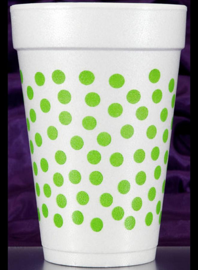 Foam Cups - Green Dot