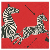 Caspari Cocktail Napkin - Zebras Red