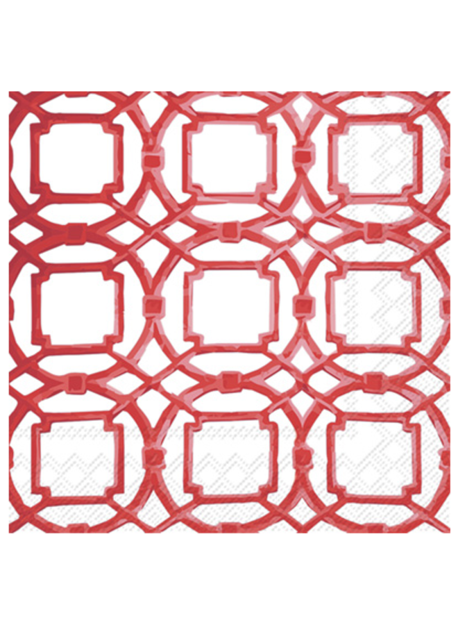 Cocktail Napkin - Courtyard Red
