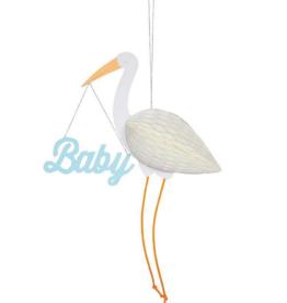 Meri Meri Greeting Card - Blue Baby Stork Honeycomb
