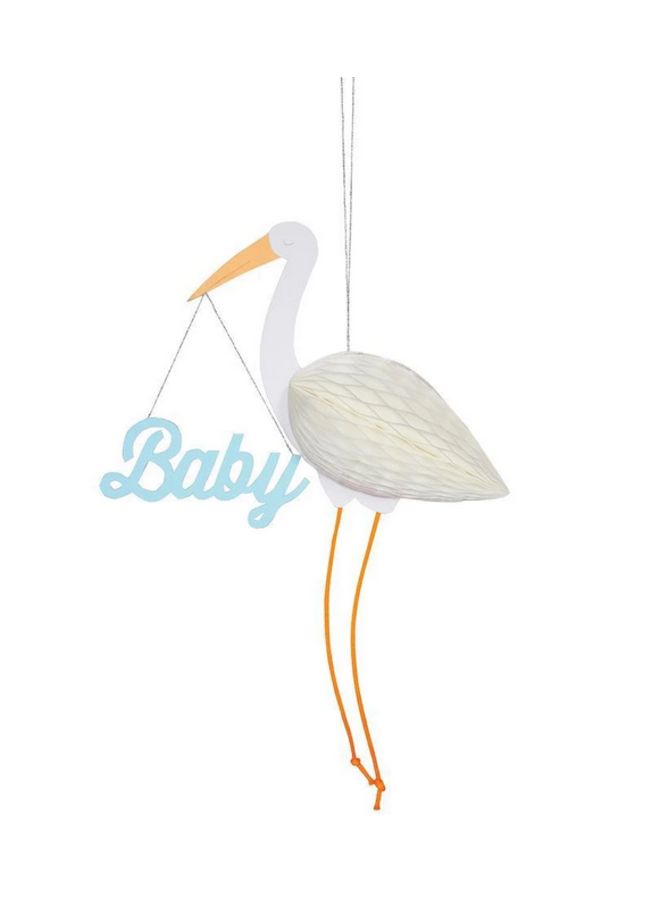 Greeting Card - Blue Baby Stork Honeycomb