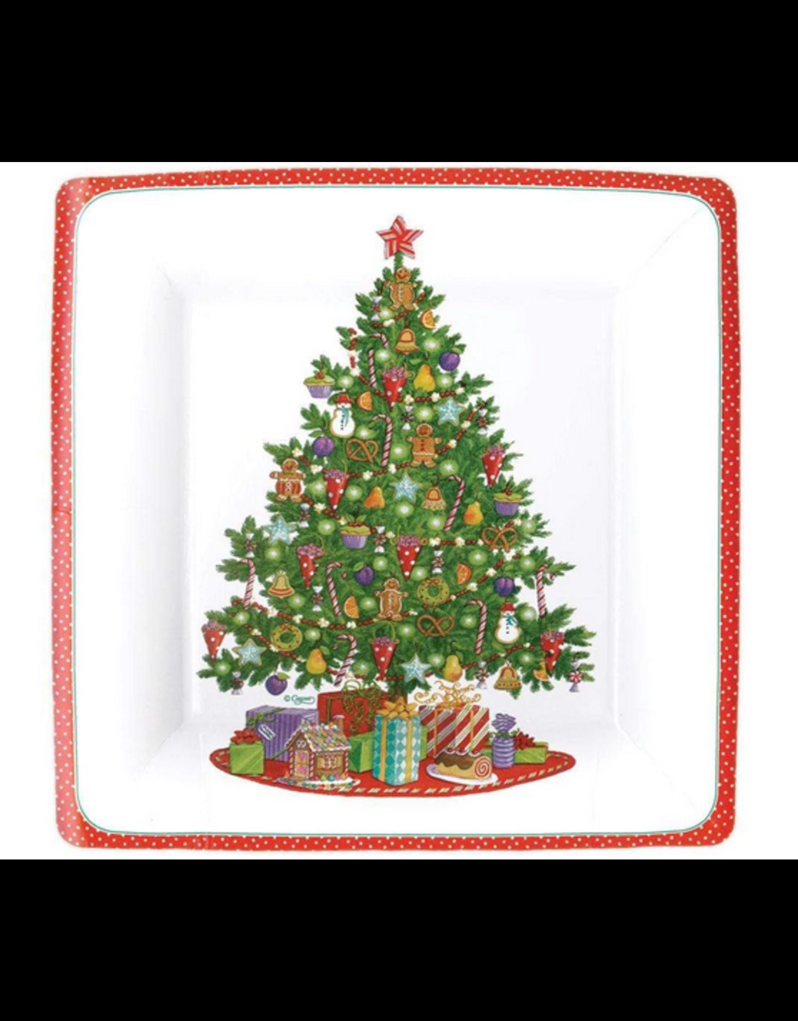 Caspari Dinner Plate - Trim A Tree White